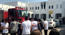 Bodrum'da lisede yangın